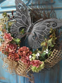 VICTORIAN+VINTAGE+BUTTERFLY+large+wreath+with+by+faucettandflame,+$54.99