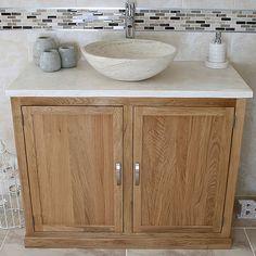 Bathroom Oak Vanity Cabinet Single Cloakroom Unit Sink Bowl Basin - Diy bathroom vanity unit