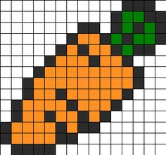 Carrot Perler Bead Pattern | Perler Bead Patterns | Food Fuse Bead Patterns