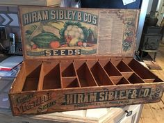 Antique seed box Hiram Sibley country store paper label advertising Rochester | eBay Plastic Box Storage, Storage Boxes, Seed Storage, Diy Storage, Storage Ideas, Coffee Table Inspiration, Seed Art, Vintage Crates, Shed Interior