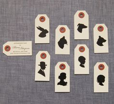 silhouette tags to finish off a ribbon or bakers twine that wraps around invite?