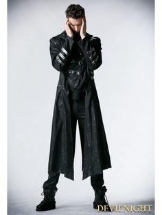Black Long to Short Gothic Military Trench Coat for Men - Devilnight.co.uk