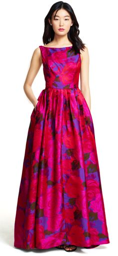 Featuring a full ball skirt with a gorgeous floral print throughout, this gown is destined to be a wardrobe favorite.