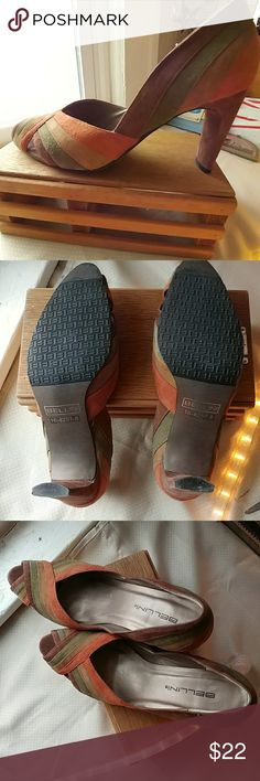 Gorgeous well made..Bellini heels Super like new condition. Only wore out to dinner and a meeting. Barely tpiched pavement. Inside and out look brand new;)) pretty leather upper with light and dark brow, olive green and orange..sharp shoe!! Shoes Heels