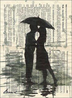 Print Art inkt tekenpapier schets Poster cadeau liefde paar paraplu Collage romantisch Mixed Media schilderij illustratie gesigneerd