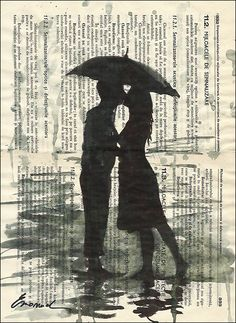 Valentine's Day Gift Love Couple & Umbrella Print Art Ink Drawing Collage Mixed Media Art Painting Illustration  Autographed on Etsy, $10.00