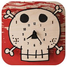 Kids Clock - Skull. Fun natural birch wood clock with a cool 3D pop out effect - hangs on wall.