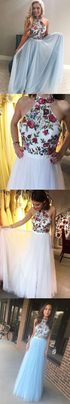 A-LINE PROM DRESSES HIGH NECK FLORAL LACE CHEAP PROM DRESS/EVENING DRESS G373 #dressesprom