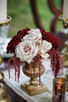Beautiful Blooms - Gold Urn filled with Rich Red Roses, Blush Roses, and Burgundy Amaranthus