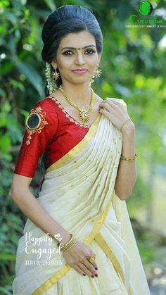 Onam Saree, Kasavu Saree, Half Saree Lehenga, Sari, Kerala Engagement Dress, Engagement Dresses, Kerala Saree Blouse, Christian Weddings, South Indian Wedding Hairstyles
