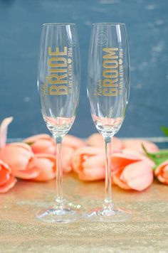 60feb745599 Items similar to Personalized Bride & Groom Wedding Toasting Flutes (Set of  TWO) Engraved Lenox Tuscany Crystal Champagne Glasses, Custom Wedding Gift  on ...