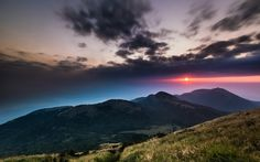 Clouds Hills Crimson Sun Sky China Taiwan Grass National Trees Night Mountains Sunset Park Hd Nature Images Gallery