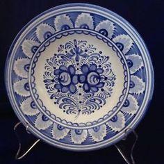 Slovak-Modra-Majolika-Pottery-Blue-White-Folk-Art-Hand-Painted-Plate-New