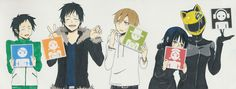 Tags: Durarara!!, Orihara Izaya, Kida Masaomi, Sonohara Anri, Ryuugamine Mikado, Sturluson Celty