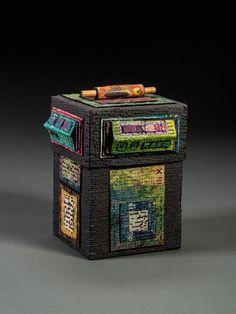handmade paper, wax resist, stitching, collage, box consturction. ©Claudia Lee