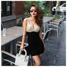 $10.11 Fatal Temptation Plunging Neckline Sequins Embellished Cresase Edge Mini Dress For Women