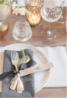 How to Set a Beautiful Table | Rosy Glasses--napkin, silverware tied with ribbon