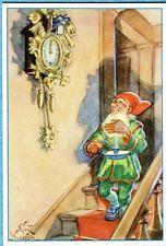 P7388   Swedish Miniature postcard,Elf with Clock