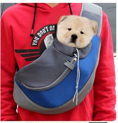 Wooc Portable Soft Pet Carrier Shoulder Sling Bag for Dogs and Cats Travel (Biue Small)