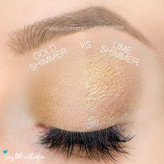 Gold Shimmer and Lime Shimmer ShadowSense side by side comparison.  These long-lasting SeneGence eyeshadows help create envious eye looks.  #eyeshadow #shadowsense