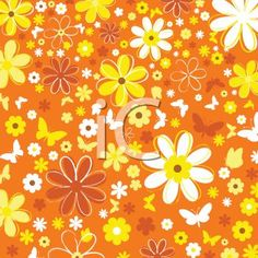 """retro 1970s floral background""   I had wallpaper similar to this in a kitchen of a house I rented in the early 80s (that had been decorated in the 70s)"
