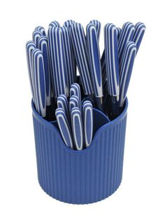 Blue Cutlery Set In a Blue Stand - Restful Spaces - 1
