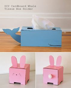 DIY Cardboard Whale  Bunny Tissue Box Holder Craft for Kids