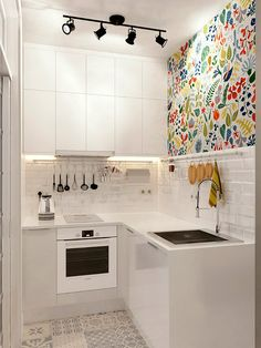 Modern Kitchen Injecting Color Into A Tiny White Space More - Don't feel limited by a small kitchen space. Here are fifty designs for smaller kitchen spaces to inspire you to make the most of your own tiny kitchen. Kitchen Interior, New Kitchen, Kitchen Decor, Kitchen Small, Kitchen White, Kitchen Modern, Minimalist Kitchen, Design Kitchen, Micro Kitchen