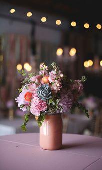 Peach Painted Mason Jar Wedding Arrangement