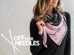 A colorful asymmetrical shawl, as seen in our YouTube series, Off Our Needles, with the Grocery Girls.