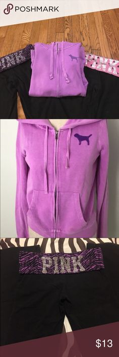 PINK by VS Purple Jacket A great deal of a PINK by VS jacket. The size is an XS! Purple hoodie has logo of dog on side and large logo on back (only mark is a tiny stain on right pocket). Any questions ask below! Trying to sell as quick as possible😃😃😃 Very cheap price and a great deal:) PINK Victoria's Secret Tops Sweatshirts & Hoodies