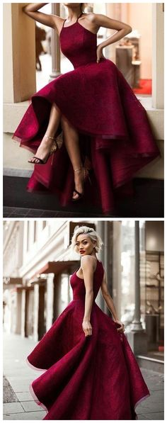 Burgundy lace prom dress, Asymmetrical long prom dress, halter simple prom dress 0833 - Our Tutorial and Ideas Trendy Dresses, Elegant Dresses, Plus Size Dresses, Cute Dresses, Beautiful Dresses, Long Dresses, High Low Prom Dresses, Red Formal Dresses, Dress Long