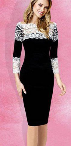 Stylish Slash Collar 3/4 Sleeve Lace Spliced Slimming Women's Dress