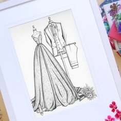 A fashion sketch capturing the wedding day style of both Bride And Groom. The perfect wedding gift for the couple who have everything and love style. Wedding Dress Illustrations, Wedding Dress Sketches, Fashion Illustration Dresses, Custom Wedding Dress, Wedding Dresses, 1st Anniversary Gifts, Special Birthday, Thoughtful Gifts, Perfect Wedding