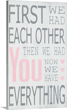 """Then We Had You"" in light pink via @greatbigcanvas #canvasprint #pinkart #nursery"