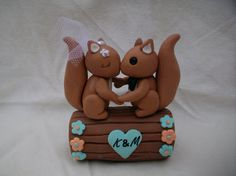Squirrel and log wedding cake topper by 2sweetformedear on Etsy