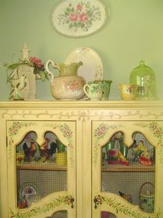 cute hand painted cottage hutch