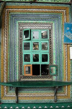 SRINAGAR, INDIAN KASHMIR:  A window of the Shah-i-Hamdan shrine. Painted Window  Join Jaypore on Journeys to Kashmir and Ladakh https://www.jaypore.com/kashmir_journey.php