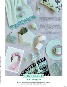Mint and grey - styling by Vanessa Nouwens; photo by Bauer Media Group Studios for Your Home and Garden, July 2014 Wood Basket, Hand Towels, Pantone, Color Patterns, Home And Garden, Mint, Plates, Grey, Tableware