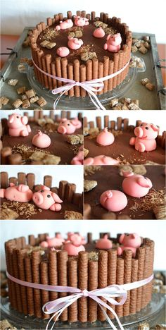 """Variation zur """"KitKat swimming pig cake"""" mit Waffelrollen und Heuballen aus Cornflakes (Kellogg´s Toppas)"""