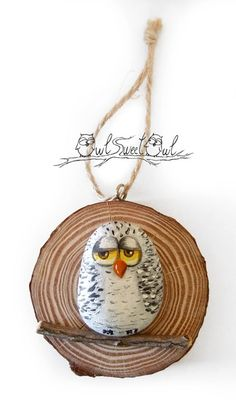 Unique painted rock snowy owl on a wooden trunk section original gift idea by owl sweet owl Pebble Painting, Pebble Art, Stone Painting, Painted Rocks, Hand Painted, Owl Rocks, 3d Art, Wooden Trunks, Owl Crafts