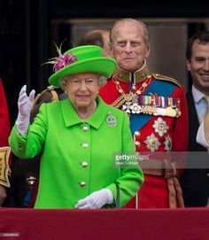 Queen Elizabeth II and Prince Philip, Duke of Edinburgh during the Trooping the Colour, this year marking the Queen's 90th birthday at The Mall on June 11, 2016 in London, England. The ceremony is Queen Elizabeth II's annual birthday parade and dates back to the time of Charles II in the 17th Century when the Colours of a regiment were used as a rallying point in battle.  (Photo by Mark Cuthbert/UK Press via Getty Images)
