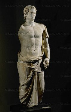 Hellenistic statue of Alexander the Great in a Himation, after an original by Lysippos, late or century BCE Τα λόγια του Μ. Ancient Greek Sculpture, Greek Statues, Ancient Egyptian Art, Ancient Greece, Ancient Aliens, Greek History, Ancient History, Art History, European History