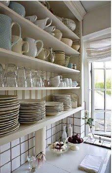 open shelving…my favorite way to do it. Kitchen Wall Cabinets, Kitchen Dresser, Kitchen Design, Kitchen Decor, Kitchen Ideas, Pantry Ideas, Rustic Country Kitchens, Bungalow Homes, White Dishes