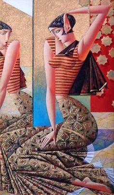 Georgy Kurasov Georgy Kurasov was born in 1958 in the USSR, in what was then Leningrad. He still lives and works in. Cubist Artists, Cubism Art, Modern Artists, Art Optical, Arte Pop, Art Mural, Figure Painting, New Art, Sculpture Art