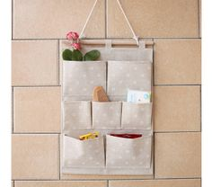 Cotton Linen Flowers Wall Hanging Bag with 7 by Pillowsupplies, $15.00