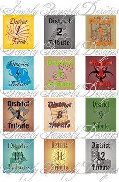 The Hunger Games District tiles Hunger Games Activities, Hunger Games Humor, Hunger Games Trilogy, Suzanne Collins, Hunger Games Districts, Volunteer As Tribute, Effie Trinket, Tea Party Birthday, Mockingjay