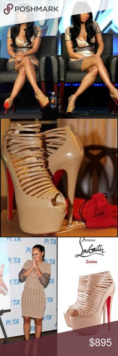 Authentic Christian Louboutin Zoulou high heels Authentic Christian Louboutin nude zoulou heel height 160 (approx 6 inches)  size 38.5 (us 7.5) In excellent condition vibrams recently added to preserve red bottoms. As seen on Nikki Minaj, and many other celebrities! Christian Louboutin Shoes Heels