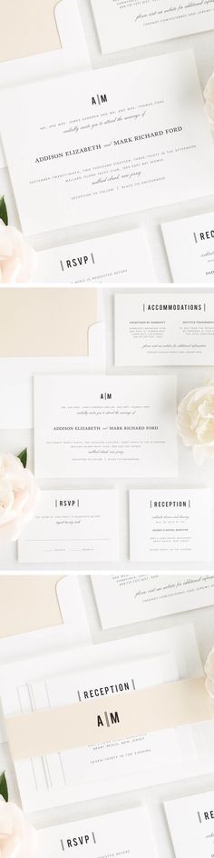 These vintage wedding invitations feature a classic block font and a romantic script, creating the perfect balance between old and new.  Shown with a solid envelope liner and belly band in champagne.