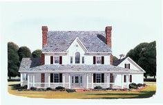Country Farmhouse Elevation of Plan 95588